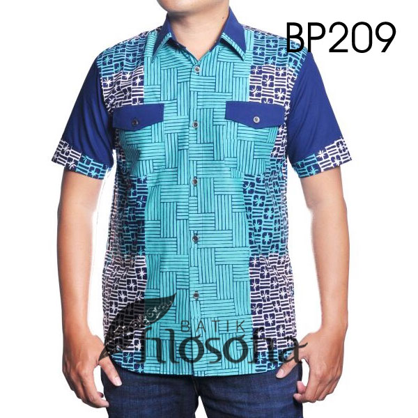 Kemeja Batik Cap Kombinasi Katun 209