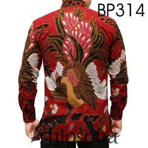 Kemeja Batik Motif Burung Merak