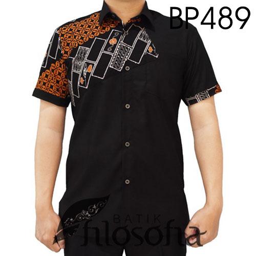 Baju Batik Pendek Kombinasi